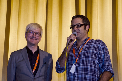 Chris Fujiwara and Helvécio Marins Jr after the screening of his film Girimunho