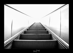 Escalator du paradis  Escalator Paradise ('^_^ Damail Nobre ^_^') Tags: light sky blackandwhite bw favorite black paris france art darkroom canon french geotagged photography blackwhite reflex high key europe flickr gallery noir photographie noiretblanc photos mark nb best fave ciel views capitale iledefrance blanc franais contrejour francais artiste artistique photographe contemporain 1635mm favoris damail 5dmarkii francais wwwdamailfr