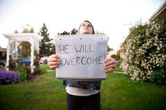 "Day 174: ""He Will Overcome"" (FallingLeavesPhotography) Tags: portrait woman canada girl sign portraits outside interesting remember edmonton creative july busy alberta portraiture change 365 changes obstacle 2012 174 overcome remembering day174 obstacles 366 stephaniewillis fallingleavesphotography"
