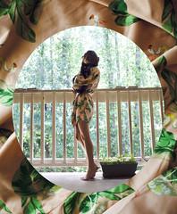 Channeling Audrey 34/365 (alexis mire) Tags: morning trees plants green leaves cat audreyhepburn robe balcony webster rupert breakfastattiffanys alexismire