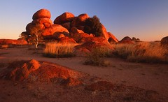 devils marbles afternoon glow (Mark Wassell) Tags: sunset red colour creek landscape photography rainbow rocks glow centre devils australia outback marbles serpent tennant