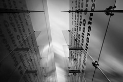 Divide... (Digital Diary........) Tags: longexposure blackandwhite bw glass architecture clouds movement mood le weldingglass worldofglass