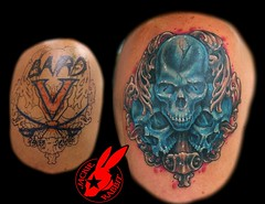 Blue Skull Cover-up by Jackie Rabbit (Jackie rabbit Tattoos) Tags: city color up tattoo skulls skull star virginia cool colorful good awesome great cover roanoke va coverup realistic jackierabbit