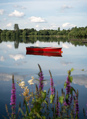 Red Boat at the Aquadrome (Watford Pat) Tags: red lake reflection boat rickmansworth aquadrome