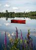 Red Boat at the Aquadrome (Watford Pat) Tags: red lake reflection boat rickmansworth aquadrome