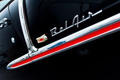 '55 red spear (GmanViz) Tags: color detail chevrolet 1955 car nikon automobile air chrome badge trim bel d90 gmanviz