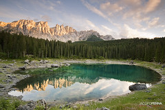 Lago Di Carezza (Jacopo Penna) Tags: light sunset cloud sun lake tree water nova rock stone landscape lago see reflex nikon tramonto filter lee di alto dolomiti bolzano carezza riflesso passo adige latemar levante 1635mm dolomits sudtirol costalunga lafo d700 enrosadina