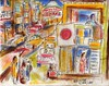 VENDORS, TAXIS AND TIME TRAVEL TO MOTOMACHI (roberthuffstutter) Tags: style expressionism impressionism huffstutter watercolorsbyhuffstutter artmarketusa