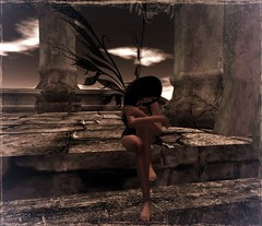 Sad Fae (*~*Silver *~*) Tags: sky sexy stone female clouds wings sad avatar avi sl fairy secondlife blackhair digitalgirl sadfae