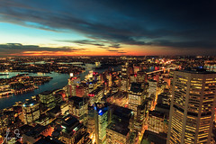 Sydney City at Dusk (sachman75) Tags: city longexposure sunset skyline buildings harbour dusk sydney australia nsw cbd westfield harbourbridge canon1740mmf4 leefilters canon5dmarkii sydneytowereye ndgrad4stops