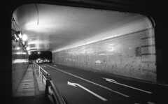 Entrance of a tunnel (Snap Shooter jp) Tags: road street blackandwhite bw film monochrome japan night kodak snapshot stock rangefinder tunnel snap yokohama ricoh compact blackdiamond gr1v xtol trix400 tsurumi flickrestrellas grlens28mmf28 mygearandme mygearandmepremium