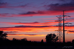 Salt Lake City Sunset (jharperphoto) Tags: city blue sunset red lake mountains yellow dark rockies evening utah salt rocky powerlines saltlakecity cables rockymountains 2012