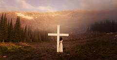 Holy mountain (Lichon photography) Tags: surreal surrealism cross dark darkness fog mountain trees forest girl woman conceptual conceptualidea fine art landscape nature sunrise summer sunset color concept canada religion