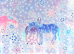 hand painted silk scarf with horses for my mum (detail) (jani.na) Tags: blue purple pink horses silk painting hand pained original art scarf winter snow flowers formymum birthday present jani nanavati janina