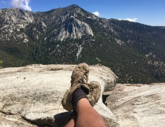 YES! I Just Hiked Suicide Rock, Now I'm Kickin' Back! (Blue Rave) Tags: 2016 sanjacintomountains trail nature idyllwild california ca iphonephotography iphoneography trees suiciderocktrail hike hiking suiciderock tahquitzpeak lilyrock mountains self myself ego me bloke dude guy male mate people selfie shoes hikingshoes