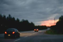241/366 (Niko Saarinen) Tags: night road ontheroad sunset bokeh blur finland suomi cars nikon d800e nikkor 50mm evening drive