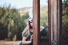 Alice (Kelly McCarthy Photography) Tags: woman model beautiful beauty fashion style fairytale aliceinwonderland mask rabbit rabbitmask dress green catchycolorsgreen outdoors bokeh bokehwhores door doorway doorframe blonde pose