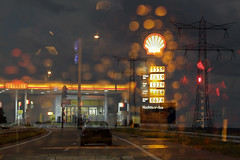 making sense (Elly Snel) Tags: mixed thought gedachte road weg benzinestation petrolstation lichten lights droom dream