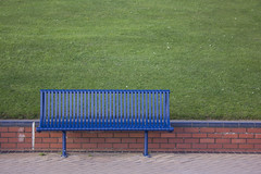 Blue and green (Dai Lygad) Tags: blue green empty bench promenade barryisland grass