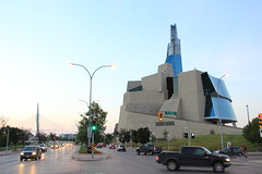 Canadian Museum of Human Rights (36ViewsGuy) Tags: canada museum winnipeg tourism architecture icon modern pioneer avenue morning traffic espalande reil pedestrian bridge manitoba