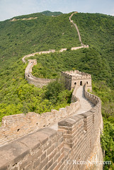 Mutianyu, China - Landscape view of the Great Wall of China. The wall stretches over 6,000 mountainous kilometers east to west across North China and through 15 provinces. (Remsberg Photos) Tags: asia china mutianyu eastasia beijing greatwall world greatwallofchina wonderoftheworld mountains architecture photography travel destination nature internationallandmark brick builtstructure ancient history protection culture fortifiedstructure province landscape beauty chn