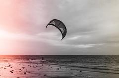 Powerkiting (pm69photography.uk) Tags: exmouth sand beach powerkiting kitesurfing kite devon sea xt2 fuji 16mm14 bw blackandwhite clouds light leak