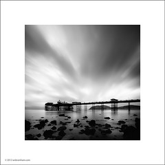 Llandudno Pier at Dawn (Ian Bramham) Tags: bw white black wales dawn pier photo llandudno ianbramham