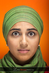 Fato - Vibrant (Ahmad A Karim) Tags: portrait orange woman green scarf out studio interesting colorful expression vibrant muslim islam young hijab studios duh darvesh weirded