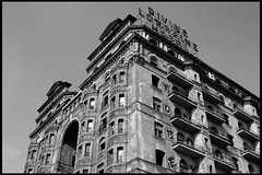 Divine Lorraine (James Mundie) Tags: blackandwhite bw abandoned blancoynegro monochrome square graffiti hotel urbandecay landmark monochromatic endangered civilrights northphiladelphia integration biancoenero broadstreet divinelorraine blancetnoir lorrainehotel schwarzweis copyrightprotected divinelorrainehotel jamesmundie fatherdivine northbroadstreet jamesgmundie profjasmundie theuniversalpeacemissionmovement fixedshadows copyrightjamesgmundieallrightsreserved broadandfairmount