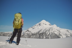 Garibaldi Park Snowshoe (AlpineEdge) Tags: trees winter woman snow canada ski ice landscape snowshoe whistler stand back bc bluesky hike backpacking backpack wife poles squamish overnight garibaldipark at