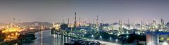 Ulsan Petrochemical Plant (Dapper snapper) Tags: chimney lights industrial smoke towers korea ferriswheel sk petrol chemicals chimneys highrises chemical lotte petroleum ulsan fossilfuels fuels lottedepartmentstore petrochemicalplant