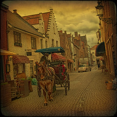 Bruges. Along the streets by carriage... (egold.) Tags: belgium brugge textures bruges hdr flanders horsecarriage