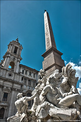 Pizza Navona, Rome - HDR (Stuart-Saunders) Tags: blue sky italy sun rome water fountain statue pizza