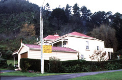 Home near the Domain entrance and  signs Te Aroha  1995 (D70) Tags: park new winter signs slr home museum canon scanner near centre entrance conservation zealand baths nz scanned mineral waikato te 1995 visitors canoscan aa domain dept aroha nikonf801 of 8600f nikkorfafzoom2885f35f45