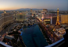 View from our suite at the Cosmopolitan Hotel. Left to right - Bellagio, Ceasars Palace, Mirage, Trump, Treasure Island, Venetian, Flamingo, Ballys, Paris.  Bellagio fountains in the foreground