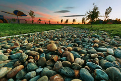 Park Sunset (boingyman.) Tags: sunset canon landscape rocks neighborhood sacramento 1022 uwa t2i boingyman