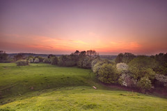 Brinklow Castle Sunset (Vemsteroo) Tags: light sunset summer coral canon evening sundown blossom dusk wide perspective may hills 7d coventry 1022mm westmidlands englishcountryside blooming coombeabbey beautyinnature ndgrad leefilters brinklowcastlem