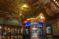 ticket booth of el capitan theater (Kris Kros) Tags: california ca classic film by night photoshop booth movie gold lights golden la losangeles los theater boulevard shadows shot pacific time theatre angeles ticket el disney nostalgia chandelier hollywood owned kris nostalgic bulbs brave theaters now walt showing screening hdr blvd avengers kkg prices capitan operated ourtime theavengers photomatix cs6 kros kriskros 6xp kkgallery bravethemovie
