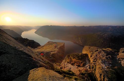 Preikestolen in morning sun (1) (jensvins) sea cliff norway rock sunrise norge wideangle fjord preikestolen rogaland lysefjorden sunflare pulpitrock sigma1224 ryfylke forsand hyvlatonn naturethroughthelens preacherspulpit