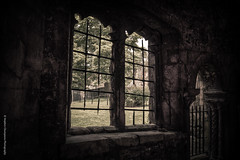 The Old Iron Window (Stephen Champness) Tags: old brick green window grass stone gate arch cathedral sony canterbury adobe alpha hdr lightroom a290 iorn