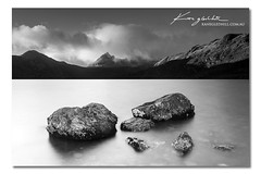Silver Screen ([ Kane ]) Tags: sky blackandwhite lake water clouds silver rocks dove australia tasmania kane silverscreen cradlemountain kanegledhill kanegledhillphotography