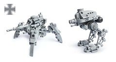 KriegsLufer B7 & B5 (Fredoichi) Tags: robot lego space military wwii walker micro mecha mech microscale dieselpunk fredoichi
