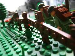 Coming Soon. (EnvelopeCrease) Tags: england france fence soldier fight cool war lego wwii helmet attack battle creation german ww2 americans guns weapons garand moc brickarms
