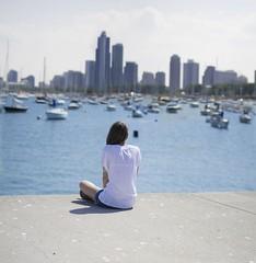 (silvia sani) Tags: portrait lake chicago girl skyline self buildings boats 50mm skyscrapers silvia sani expansion