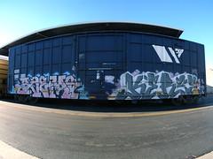 RAEMS  KERSE (TRUE 2 DEATH) Tags: railroad train graffiti pano tag graf trains panoramic railcar spraypaint railways stitched railfan freight amfm freighttrain rollingstock kerse autopano  stitchedpanorama autopanopro stitchted benching freighttraingraffiti raems
