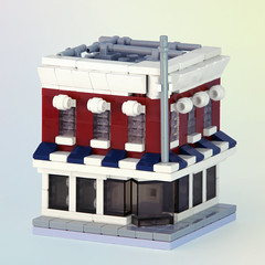 50's Style Bank (Carson Hart) Tags: door old roof house money detail brick classic window carson fun photography miniature photo cool lego small contest banner pipe bank competition mini retro photograph madness modular tiny hart editing hip build diorama edit stylish detailed compete
