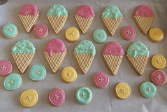 Ice Cream and button Cookies (B is for Biscuit) Tags: b summer ice for is cookie buttons cream biscuit icecream pastels button