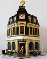 The Evening Brick (snaillad) Tags: old city brick corner vintage paper evening town newspaper cafe lego headquarters clocktower 1940s madness modular 1950s editor journalist moc