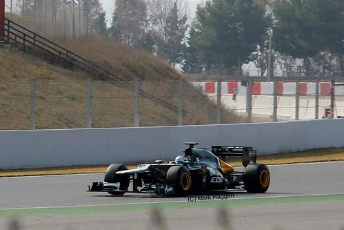 Heikki Kovalainen in his Caterham in Winter Testing, Circuit de Catalunya, March 2012