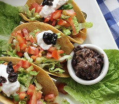 Chipotle Jackfruit Tacos with Cheesy Black Beans (Vegan Feast Catering) Tags: corntortilla jackfruit onion peppers chipotle tomato lemon avocado taco vegan